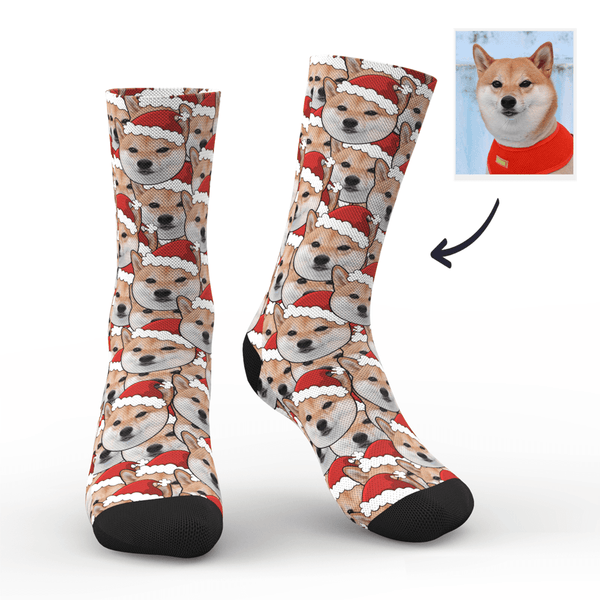 Custom Face Mash Dog Santa hat Socks - MyPhotoSocks