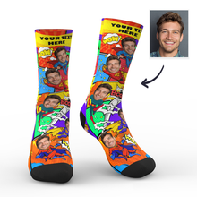 Custom Photo Socks Superhero Comic With Your Text - MyPhotoSocks