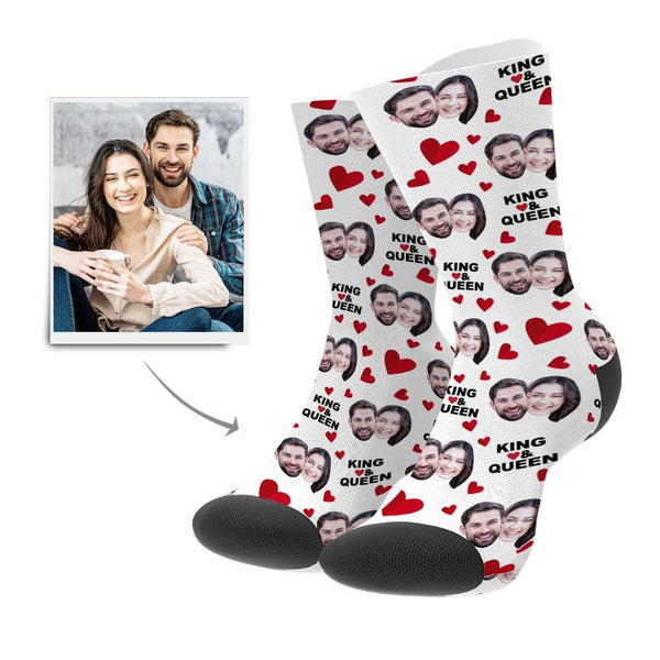 Custom Love Heart Face Socks with Your Text - MyPhotoSocks