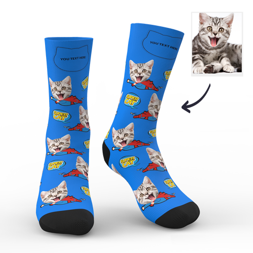 Custom Photo Socks Super Cat With Your Text - MyPhotoSocks