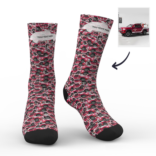 Custom Photo Socks Car Mash With Your Text - MyPhotoSocks