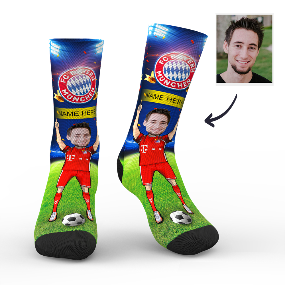 CUSTOM PHOTO SOCKS FC BAYERN MUNICH SUPERFANS WITH YOUR TEXT - MyPhotoSocks