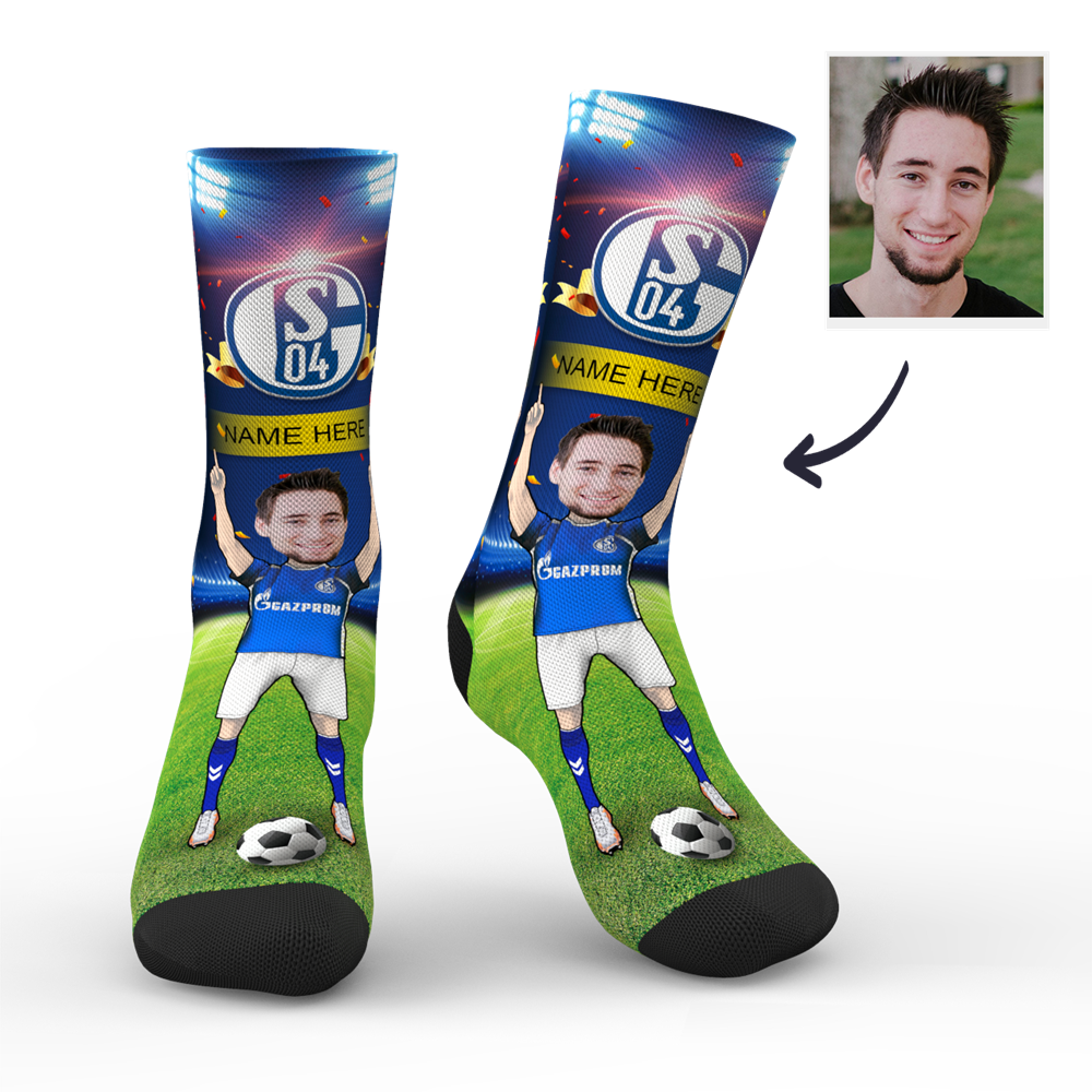 CUSTOM PHOTO SOCKS FC SCHALKE 04 SUPERFANS WITH YOUR TEXT - MyPhotoSocks