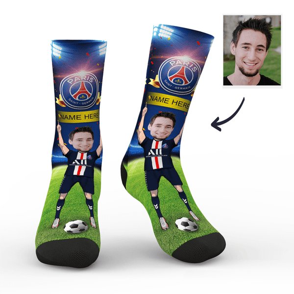 CUSTOM PHOTO SOCKS SC PARIS SAINT-GERMAIN SUPERFANS WITH YOUR TEXT - MyPhotoSocks