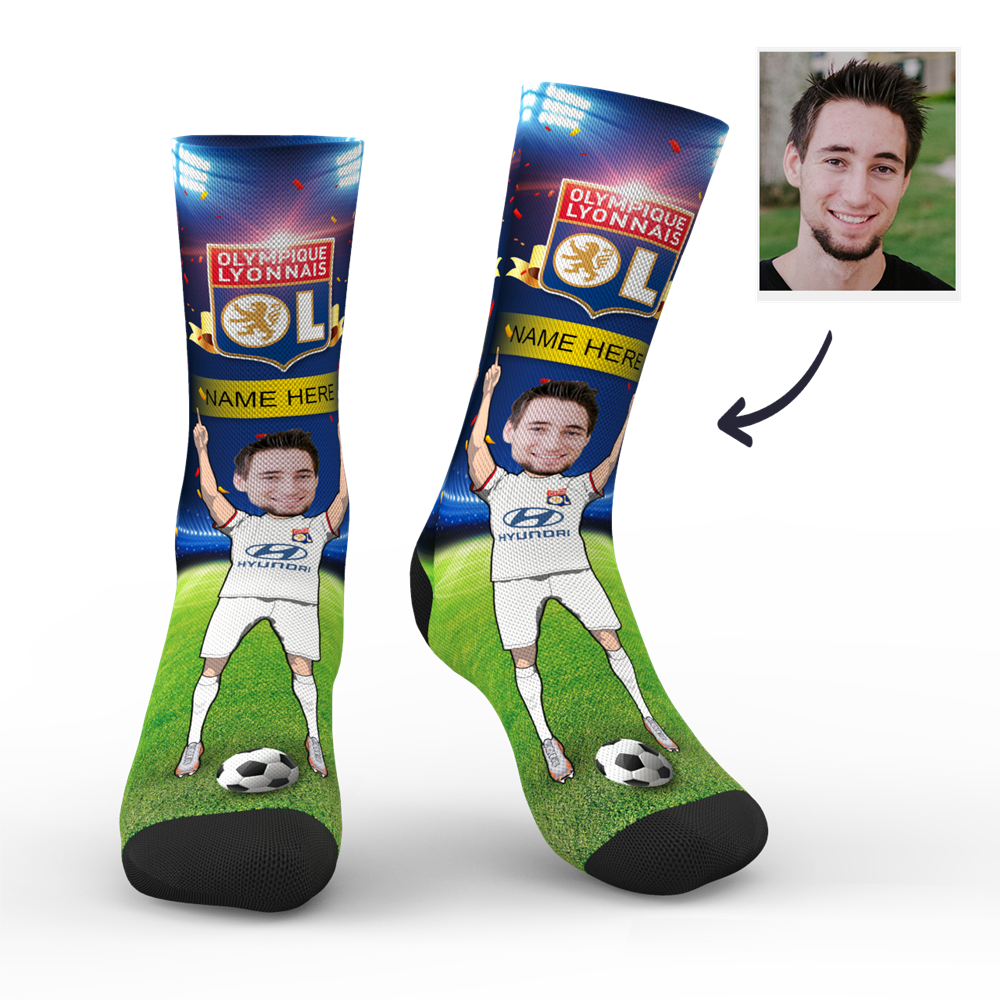 CUSTOM PHOTO SOCKS SC PARIS OLYMPIQUE LYONNAIS SUPERFANS WITH YOUR TEXT - MyPhotoSocks