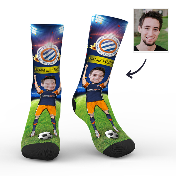 CUSTOM PHOTO SOCKS SC PARIS MONTPELLIER HSC SUPERFANS WITH YOUR TEXT - MyPhotoSocks