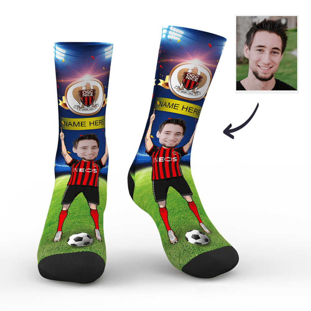 CUSTOM PHOTO SOCKS SC PARIS OGC NICE SUPERFANS WITH YOUR TEXT - MyPhotoSocks