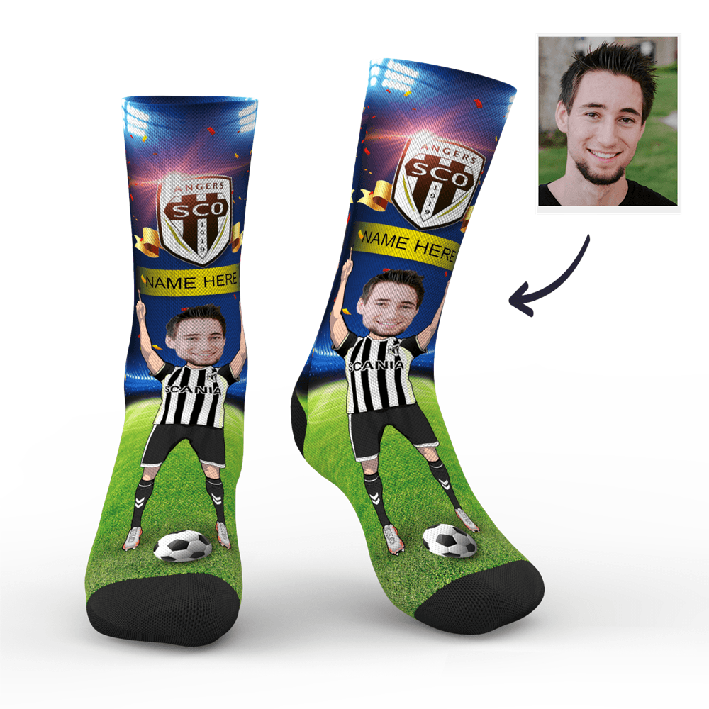 CUSTOM PHOTO SOCKS SC PARIS ANGERS SCO SUPERFANS WITH YOUR TEXT - MyPhotoSocks