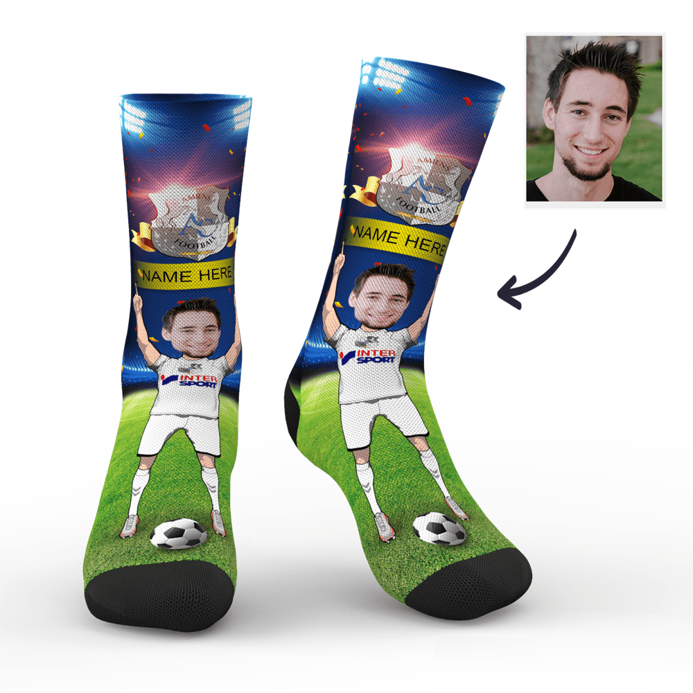 CUSTOM PHOTO SOCKS SC PARIS AMIENS SC SUPERFANS WITH YOUR TEXT - MyPhotoSocks