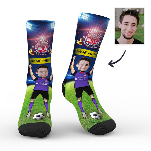 CUSTOM PHOTO SOCKS SC PARIS TOULOUSE FC SUPERFANS WITH YOUR TEXT - MyPhotoSocks