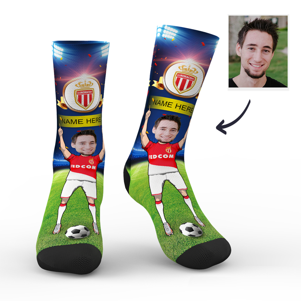CUSTOM PHOTO SOCKS SC PARIS AS MONACO SUPERFANS WITH YOUR TEXT - MyPhotoSocks