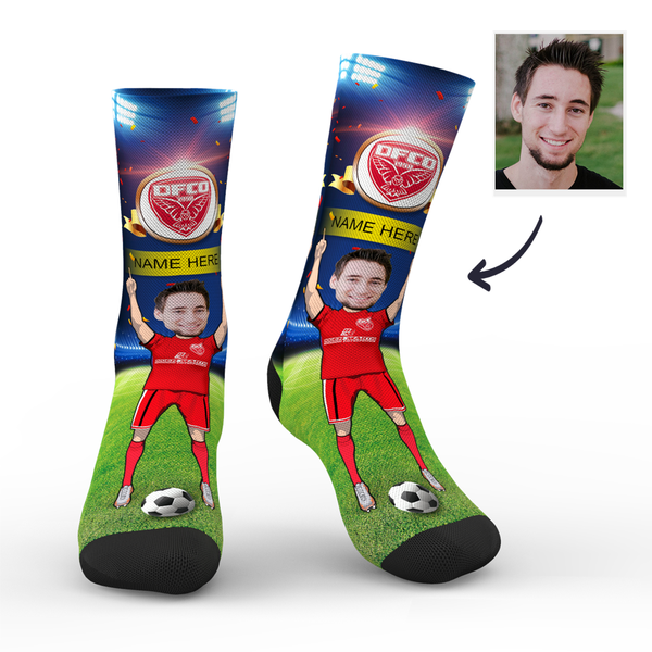 CUSTOM PHOTO SOCKS SC PARIS DIJON FCO SUPERFANS WITH YOUR TEXT - MyPhotoSocks