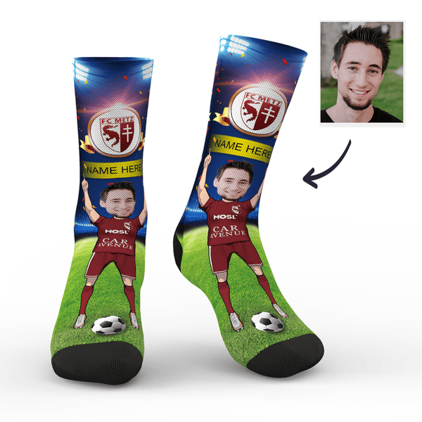 CUSTOM PHOTO SOCKS SC PARIS FC METZ SUPERFANS WITH YOUR TEXT - MyPhotoSocks