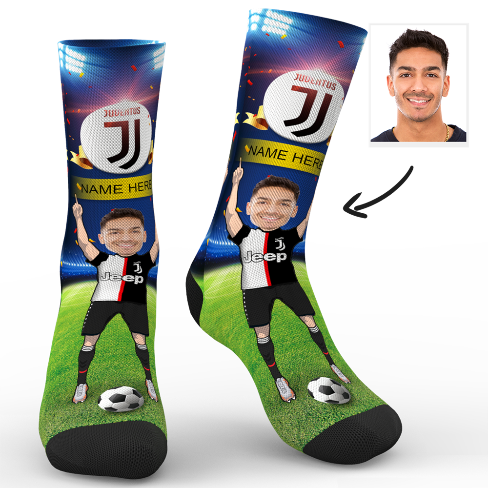CUSTOM PHOTO SOCKS SC JUVENTUS F.C. SUPERFANS WITH YOUR TEXT - MyPhotoSocks