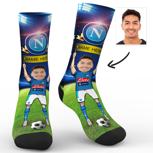 CUSTOM PHOTO SOCKS SC S.S.C. NAPOLI SUPERFANS WITH YOUR TEXT - MyPhotoSocks