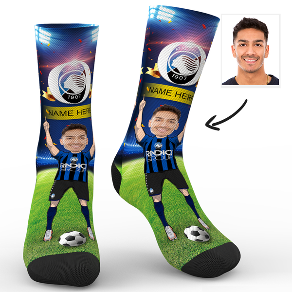 CUSTOM PHOTO SOCKS SC ATALANTA B.C. SUPERFANS WITH YOUR TEXT
