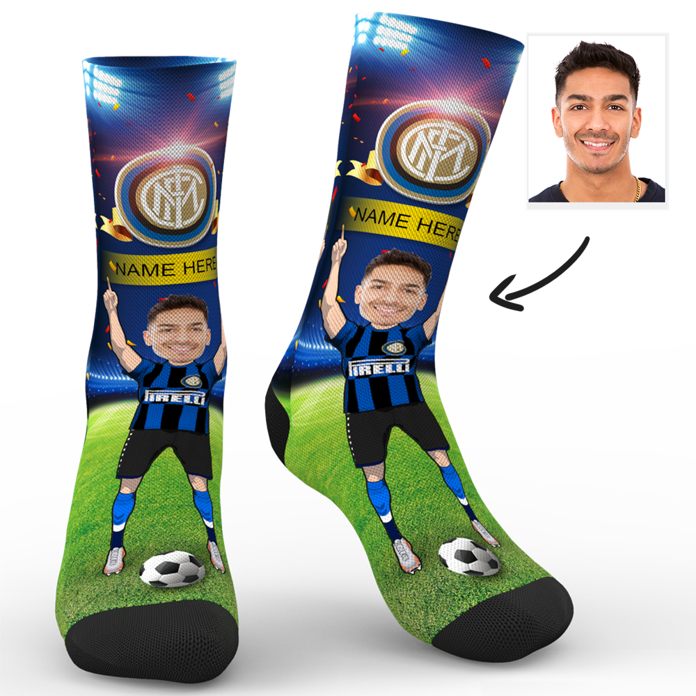 CUSTOM PHOTO SOCKS SC PARIS INTER MILAN SUPERFANS WITH YOUR TEXT - MyPhotoSocks