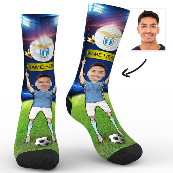 CUSTOM PHOTO SOCKS SC PARIS S.S. LAZIO SUPERFANS WITH YOUR TEXT - MyPhotoSocks