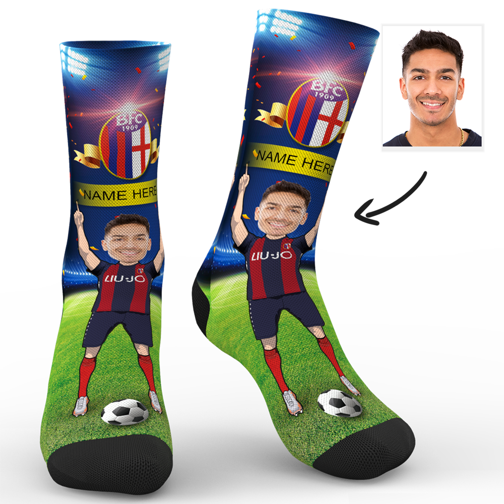 CUSTOM PHOTO SOCKS SC PARIS BOLOGNA F.C. 1909 SUPERFANS WITH YOUR TEXT - MyPhotoSocks