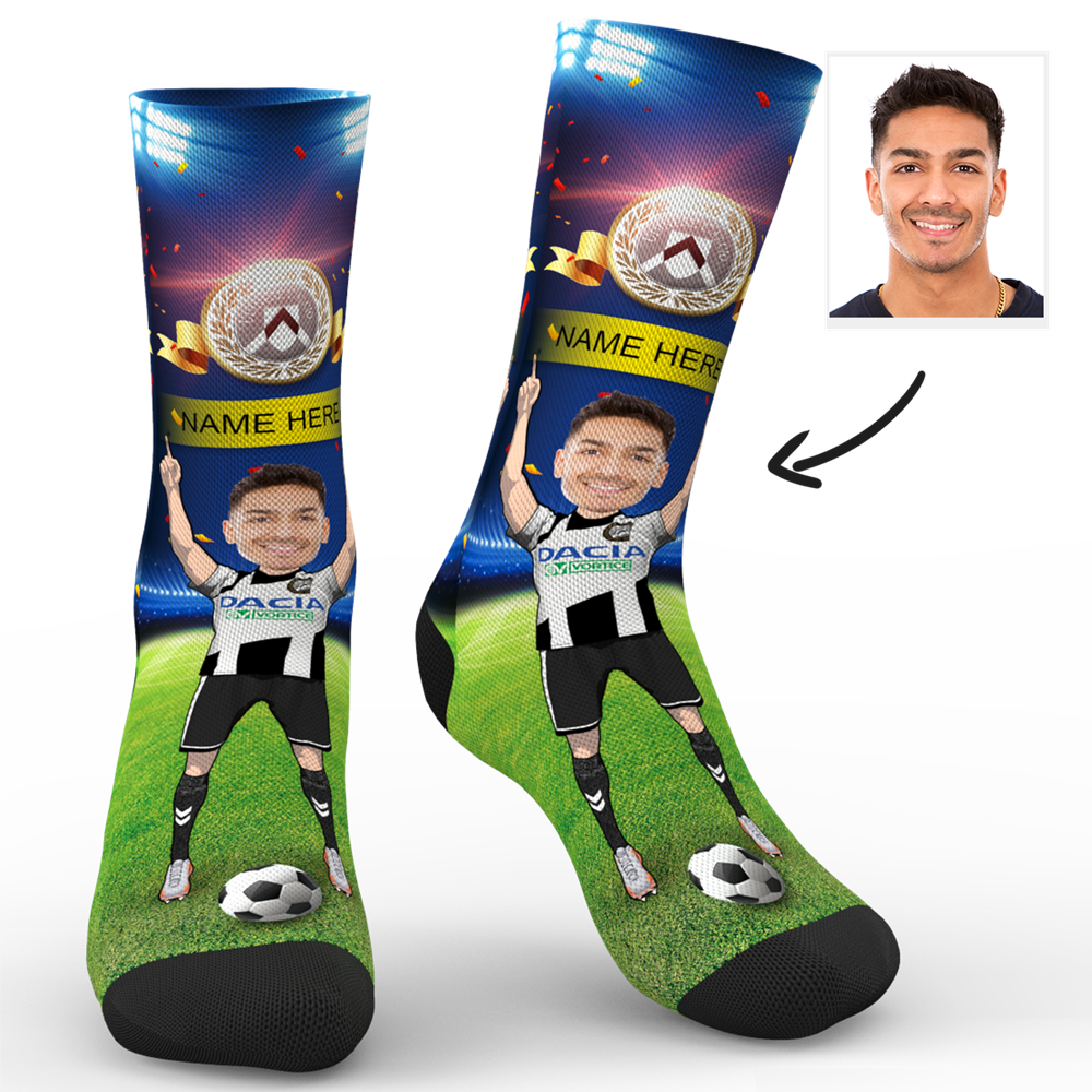 CUSTOM PHOTO SOCKS SC PARIS UDINESE CALCIO SUPERFANS WITH YOUR TEXT - MyPhotoSocks