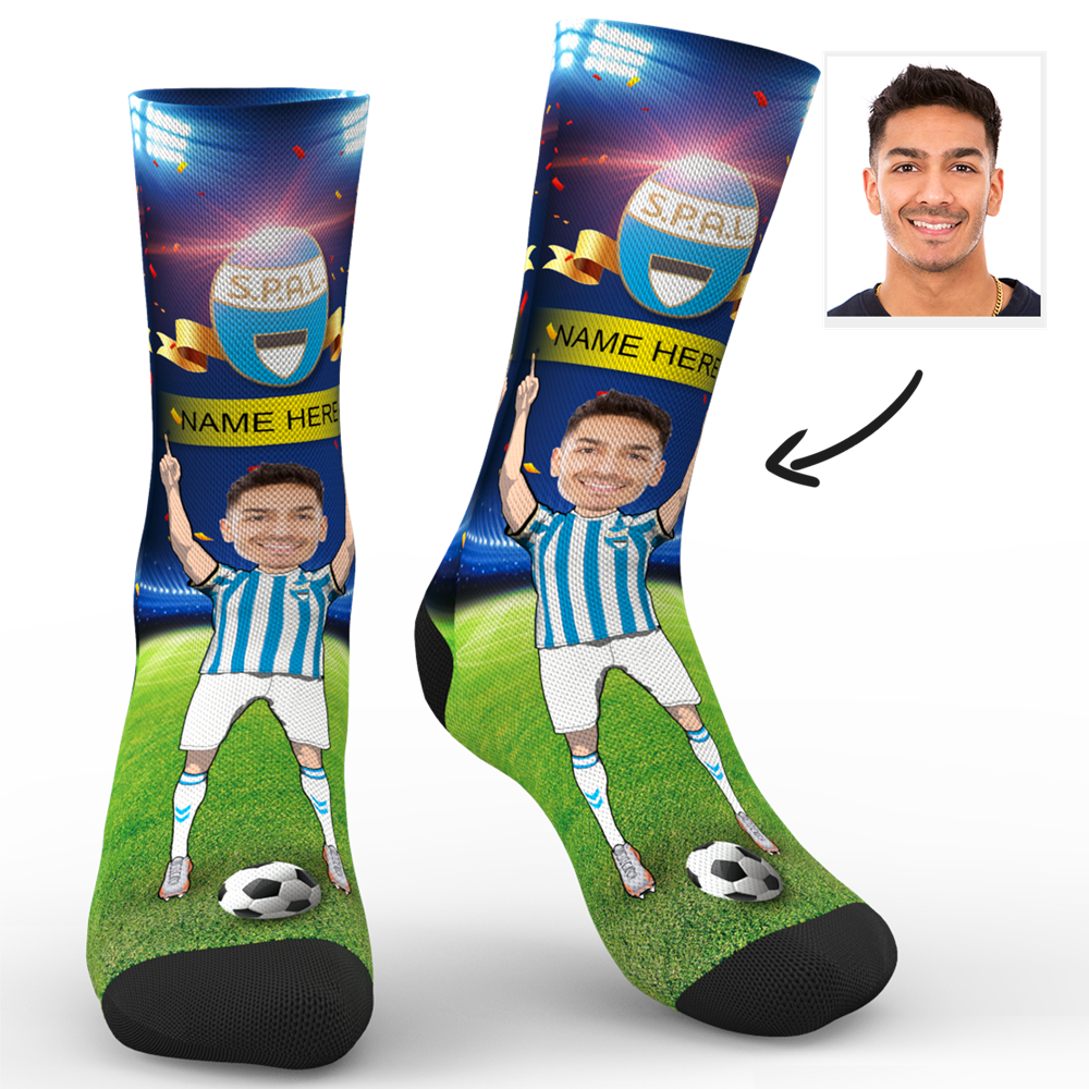 CUSTOM PHOTO SOCKS SC PARIS S.P.A.L. 2013 SUPERFANS WITH YOUR TEXT - MyPhotoSocks