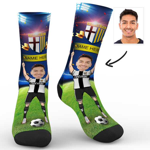 CUSTOM PHOTO SOCKS PARMA CALCIO 1913 SUPERFANS WITH YOUR TEXT - MyPhotoSocks