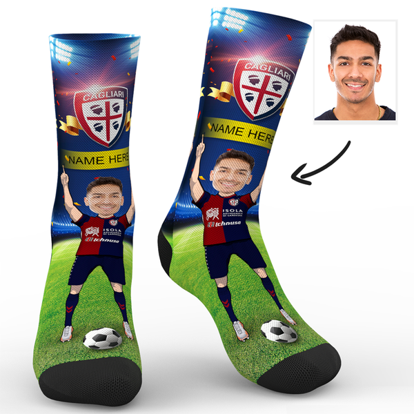 CUSTOM PHOTO SOCKS CAGLIARI CALCIO SUPERFANS WITH YOUR TEXT - MyPhotoSocks