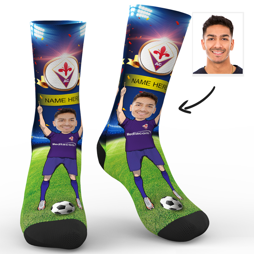 CUSTOM PHOTO SOCKS ACF FIORENTINA SUPERFANS WITH YOUR TEXT - MyPhotoSocks