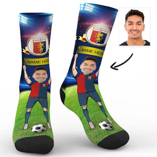 CUSTOM PHOTO SOCKS GENOA C.F.C. SUPERFANS WITH YOUR TEXT - MyPhotoSocks