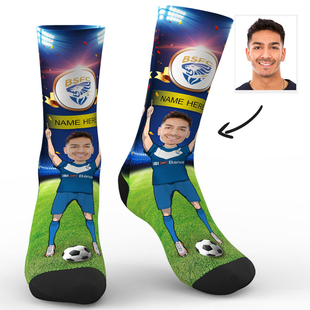 CUSTOM PHOTO SOCKS BRESCIA CALCIO SUPERFANS WITH YOUR TEXT - MyPhotoSocks