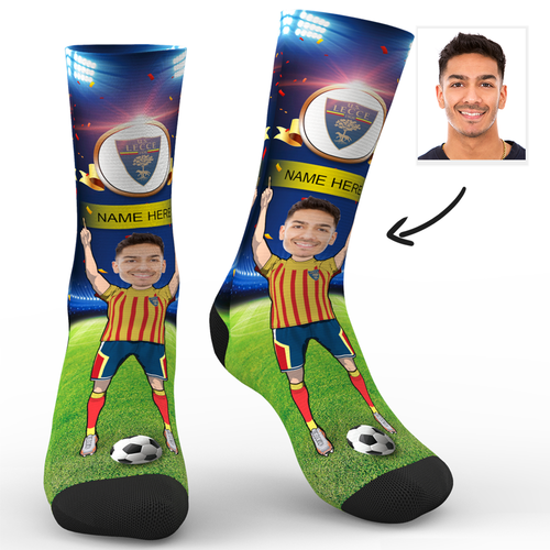 CUSTOM PHOTO SOCKS U.S. LECCE SUPERFANS WITH YOUR TEXT - MyPhotoSocks