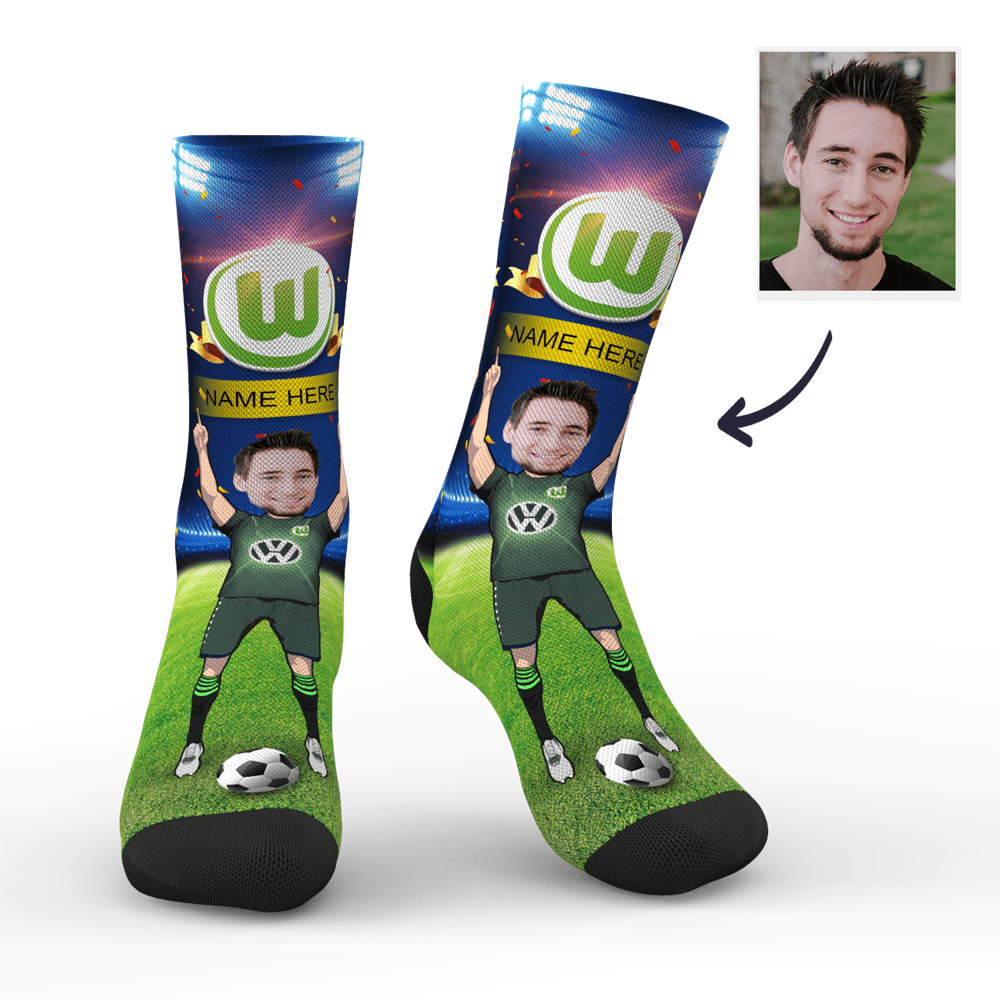 CUSTOM PHOTO SOCKS VFL WOLFSBURG SUPERFANS WITH YOUR TEXT - MyPhotoSocks