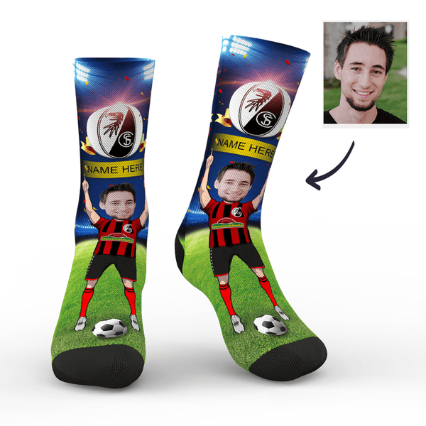 CUSTOM PHOTO SOCKS SC FREIBURG SUPERFANS WITH YOUR TEXT - MyPhotoSocks