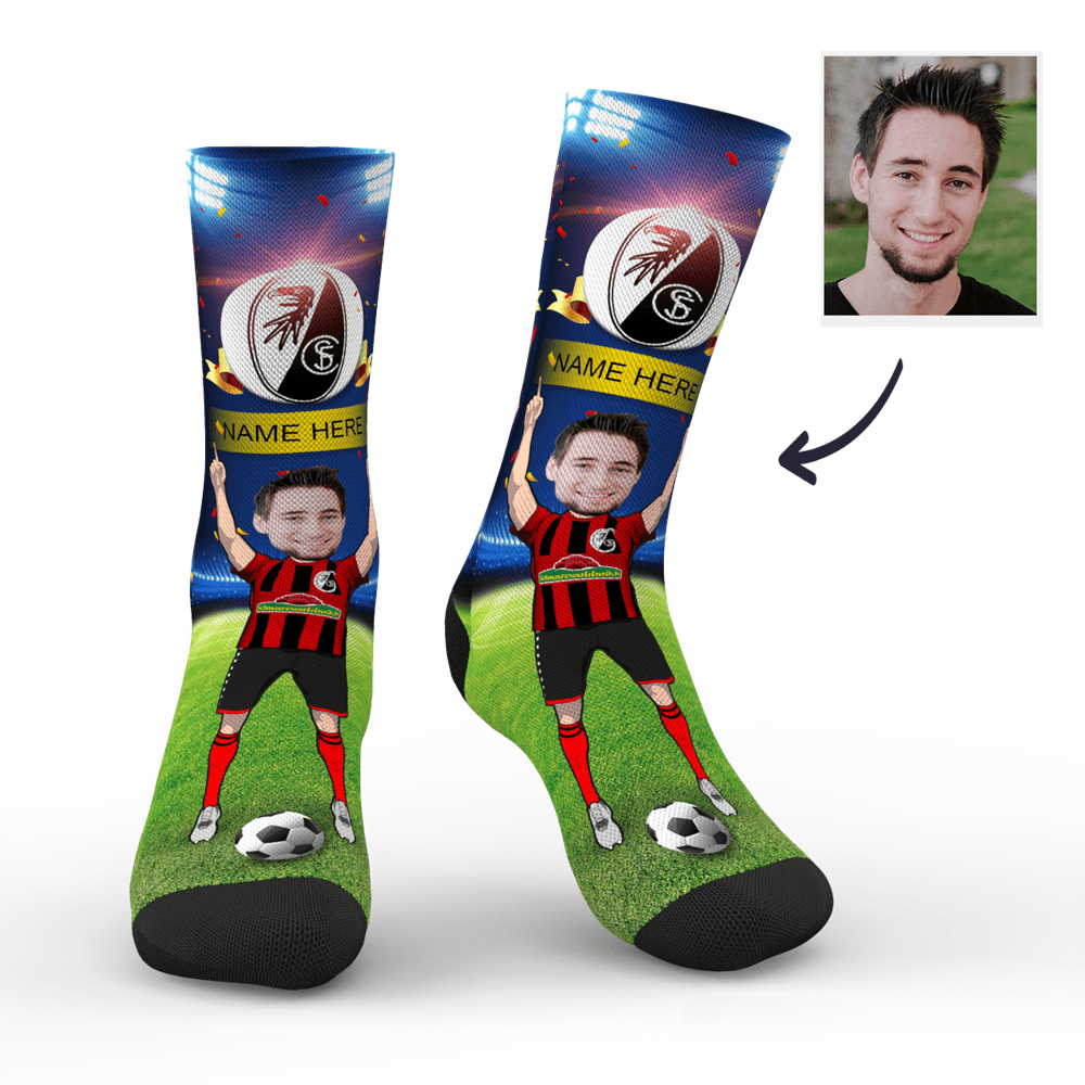 CUSTOM PHOTO SOCKS SC FREIBURG SUPERFANS WITH YOUR TEXT