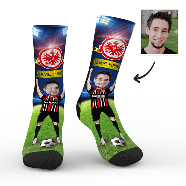 CUSTOM PHOTO SOCKS FRANKFURT SUPERFANS WITH YOUR TEXT - MyPhotoSocks