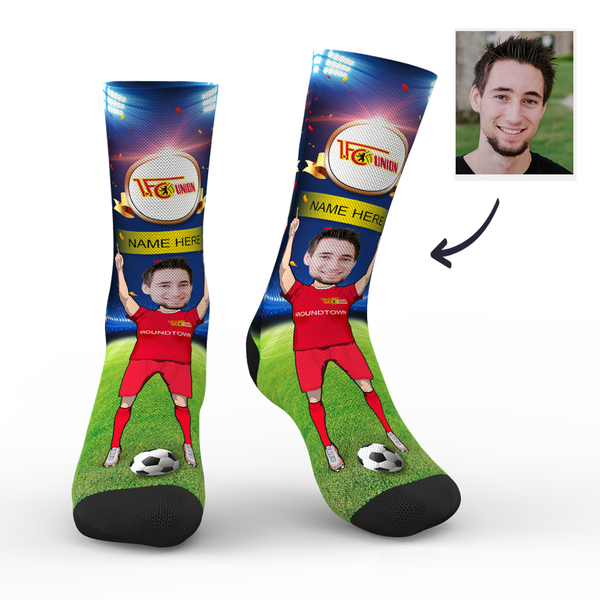 CUSTOM PHOTO SOCKS 1.FC UNION BERLIN SUPERFANS WITH YOUR TEXT - MyPhotoSocks