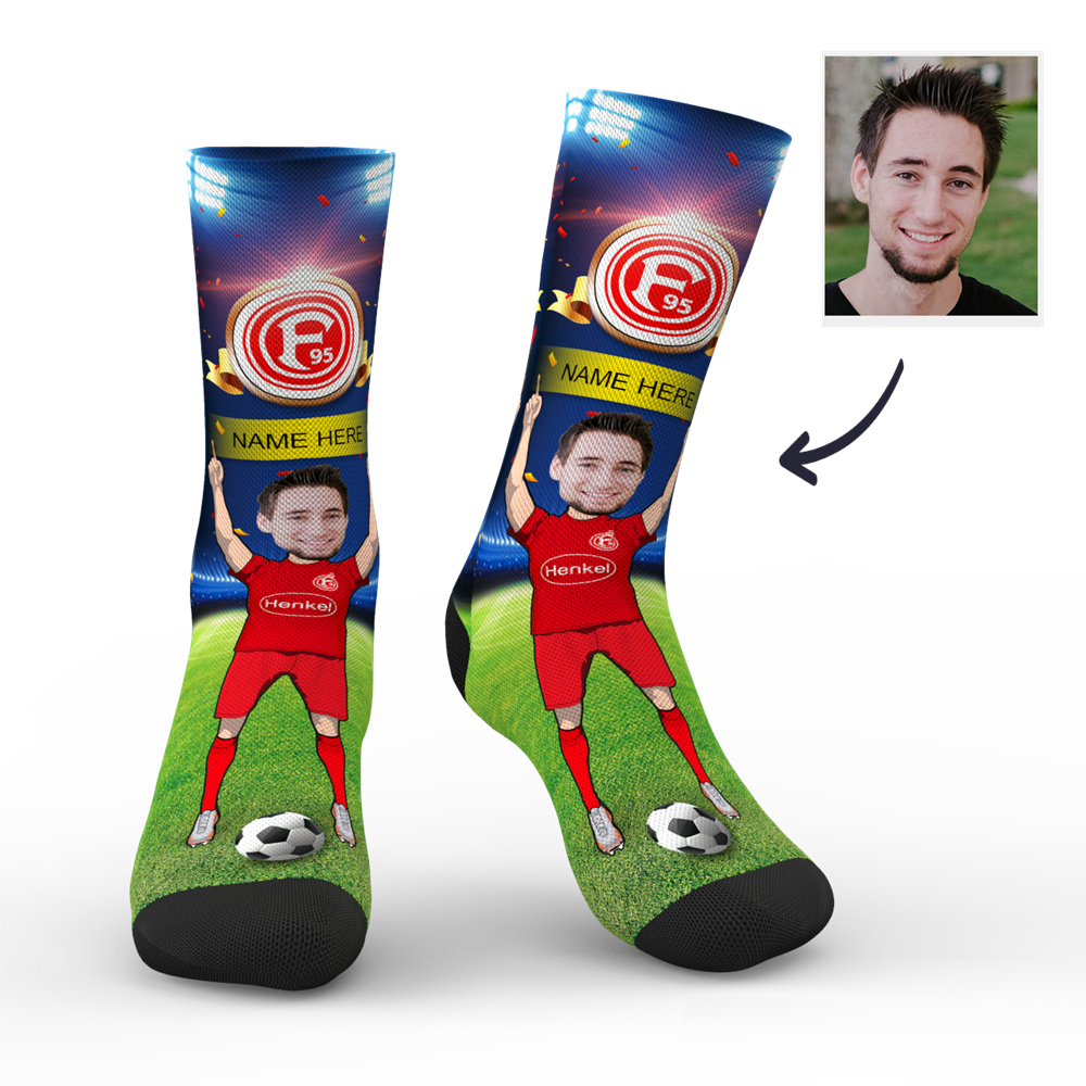 CUSTOM PHOTO SOCKS FORTUNA DUSSELDORF SUPERFANS WITH YOUR TEXT - MyPhotoSocks