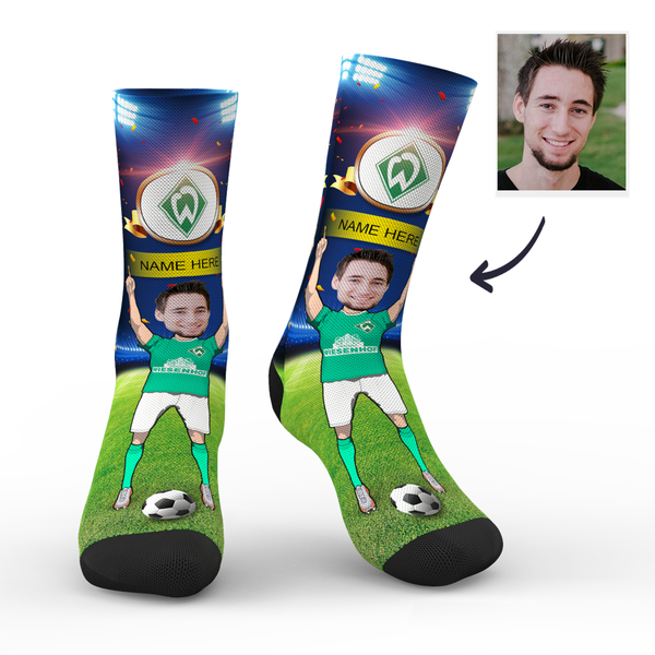 CUSTOM PHOTO SOCKS WERDER BREMEN SUPERFANS WITH YOUR TEXT - MyPhotoSocks