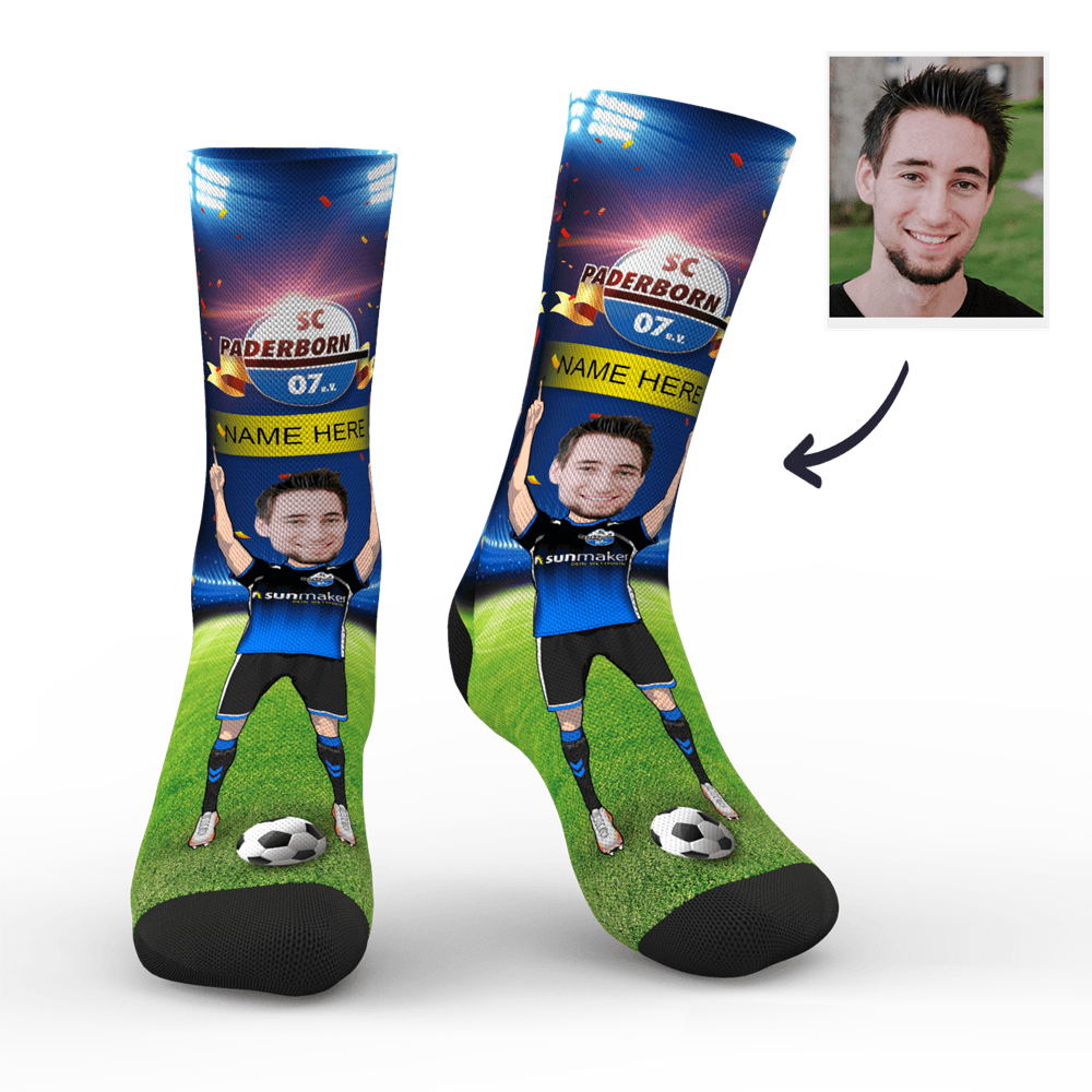 CUSTOM PHOTO SOCKS SC PADERBORN 07 SUPERFANS WITH YOUR TEXT - MyPhotoSocks