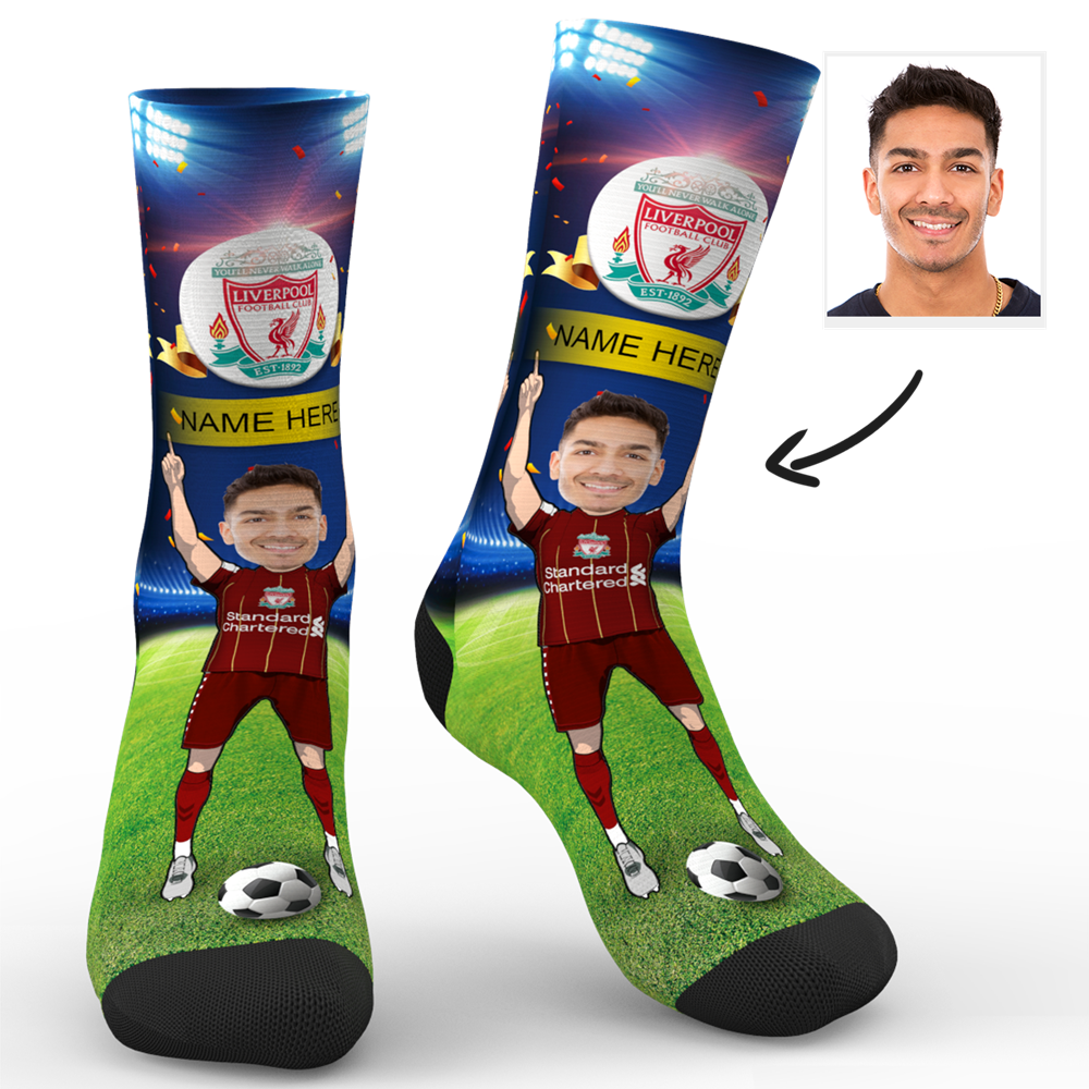 CUSTOM PHOTO SOCKS LIVERPOOL FC SUPERFANS WITH YOUR TEXT