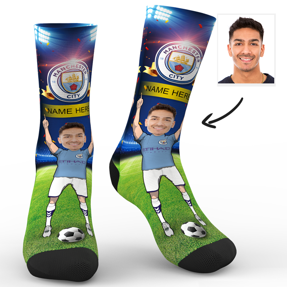 CUSTOM PHOTO SOCKS MANCHESTER CITY FC SUPERFANS WITH YOUR TEXT