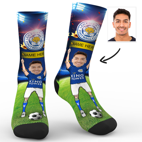 CUSTOM PHOTO SOCKS LEICESTER CITY FC SUPERFANS WITH YOUR TEXT - MyPhotoSocks