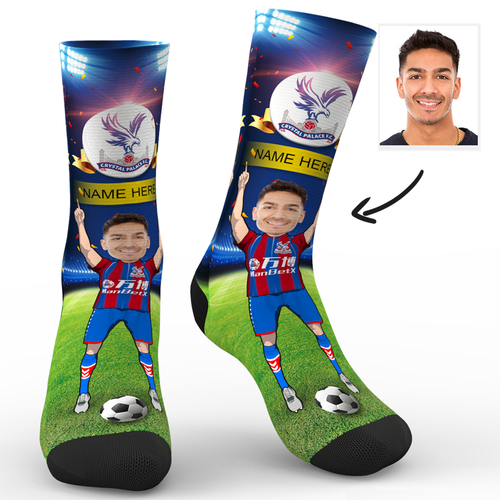 CUSTOM PHOTO SOCKS CRYSTAL PALACE FC SUPERFANS WITH YOUR TEXT - MyPhotoSocks