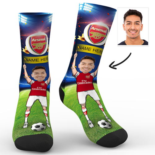 CUSTOM PHOTO SOCKS ARSENAL FC SUPERFANS WITH YOUR TEXT - MyPhotoSocks