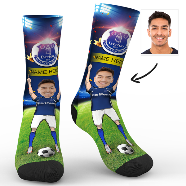 CUSTOM PHOTO SOCKS EVERTON FC SUPERFANS WITH YOUR TEXT - MyPhotoSocks