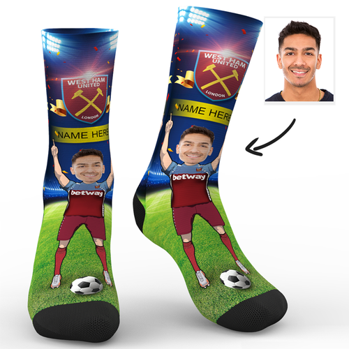 CUSTOM PHOTO SOCKS WEST HAM UNITED FC SUPERFANS WITH YOUR TEXT - MyPhotoSocks
