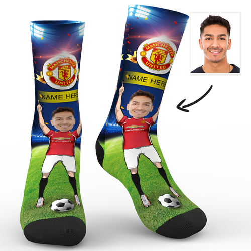 CUSTOM PHOTO SOCKS MANCHESTER UNITED FC SUPERFANS WITH YOUR TEXT - MyPhotoSocks