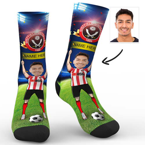 CUSTOM PHOTO SOCKS SHEFFIELD UNITED FC SUPERFANS WITH YOUR TEXT - MyPhotoSocks