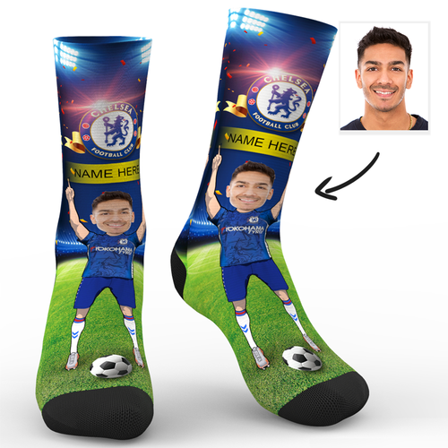 CUSTOM PHOTO SOCKS CHELSEA FC SUPERFANS WITH YOUR TEXT - MyPhotoSocks