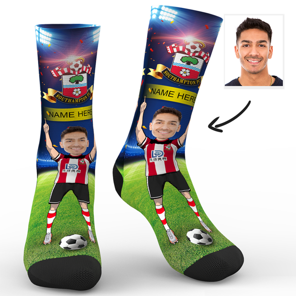 CUSTOM PHOTO SOCKS SOUTHAMPTON FC SUPERFANS WITH YOUR TEXT - MyPhotoSocks